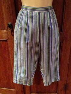 Vintage 1950s Diagonal Striped Capri Pants  S