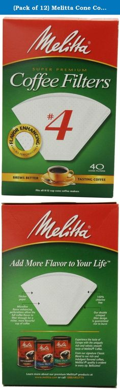 (Pack of 12) Melitta Cone Coffee Filters, White, No. 4, 40-Count Filters. Thicker, textured, high quality paper with patented flavor enhancing micro perforations, traps harmful oils & bitter sediment to deliver the full taste and aroma of your coffee to your cup! An added extra crimp for additional strength, prevents filter bursts and provide safe, easy disposal. Made with chlorine free, oxygen cleansed paper pulp for today's demand for environmentally safe, natural products. Melitta…