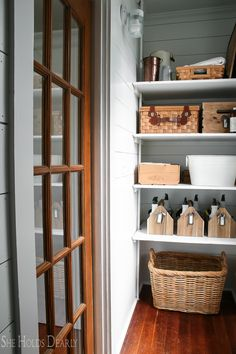 Farmhouse Style Cleaning Closet by sheholdsdearly.com