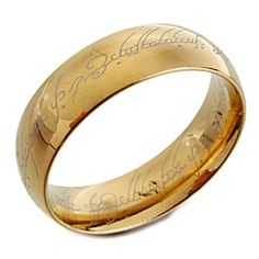 Gold Titanium Steel Band Ring with Lord of the Ring Design Laser Engraving. Get thrilling discounts up to 70% Off at Light in the Box with coupon and Promo Codes.