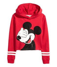 Cropped top in light, printed sweatshirt fabric with an unlined hood, long sleeves with ribbed cuffs and a raw-edge hem. Cute Disney Outfits, Cute Girl Outfits, Teenage Outfits, Cute Casual Outfits, Outfits For Teens, Girls Fashion Clothes, Teen Fashion Outfits, Girls Crop Tops, Crop Tops For Kids