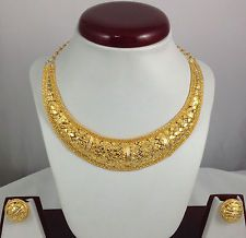 Gold Plated Necklace Earrings set Exclusive Ethnic Indian Design Bridal Jewelry