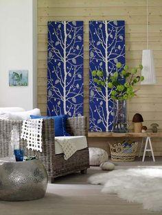 idea de decoración para paredes con paneles de tela