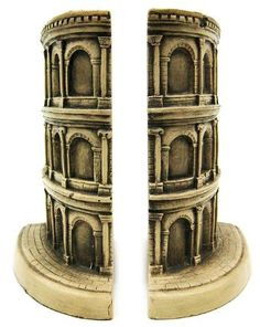 The Roman Colosseum Bookends Book Ends Rome by The Merchant Source. $42.99. Built by the Emperors Vespasian, Titus and Domitian, The Colosseum exemplifies a complex elliptical design which had to be worked out mathematically, with room for 50,000 spectators. It housed such public events as gladiator fights, mock naval battles, wild animal hunts and chariot races.Made of cold cast resin, this stunning pair of Colosseum bookends is part of the Historical Wonders Col...
