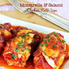 *Mozzarella and Salami Chicken Roll-Ups Recipe-Luv4VaTech notes: try using pepperoni