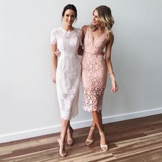 Dressed in love honour Rachel is wearing our Marilyn Dress in Ivory and the ever so lovely @erinvholland is wearing our Karla Dress in Dusty pink.