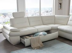 Salzburg Leather Sectional Sofa Sleeper by Nordholtz