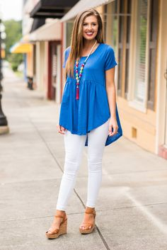 """We Can Work It Out Top, Royal Blue""You know you want this top! Why wouldn't you? It's comfy and oh so cute! #newarrival #shopthemint"