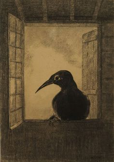 Odilon Redon - The Raven, 1882, charcoal on laid paper, 39.9 x 27.9 cm, National Gallery of Canada  |  http://www.gallery.ca/en/see/collections/artwork.php?mkey=6828