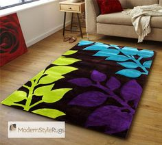 Possibility for my oldest daughter's room.....Black Purple Lime Green Blue  Funky Rug Designs 3 Sizes | eBay