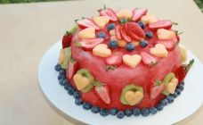 Fresh Fruit Cake Recipe - someone please make this for me for my birthday instead of cake!