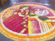 Floral Carpet/Pookalam (saw this at Kottayam Rly station)....Onam festival of Kerala.