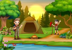 Scout boys on campsite with tent and backpack Premium Vector Cartoon Pics, Cartoon Drawings, Art Drawings, Camping Cartoon, Scout Camping, Winter Camping, Stick Figures, Drawing For Kids, Fantasy Art