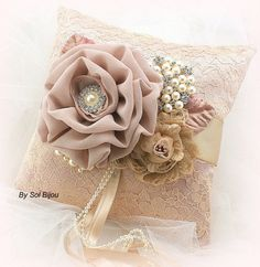 Ring Bearer Pillow Blush, Ivory, Gold, Champagne, Beige and Tan with Lace, Brooch, Jewels and Pearls- Vintage Passion