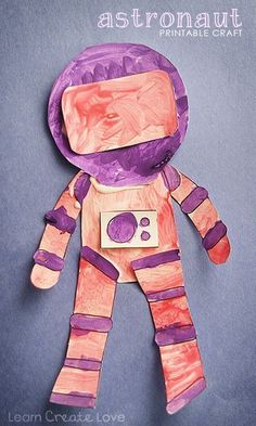 Printable Astronaut Craft - would be cute to make it so the rectangle portion is open and add let the kids put their picture in there.