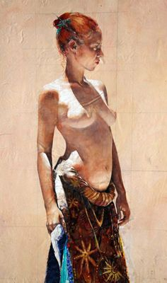 Artist: Stephen Scott Young, 2006 {contemporary figurative redhead frontal semi-nude female wearing skirt watercolor painting with sunlit shadows #NSFW} Posture!!