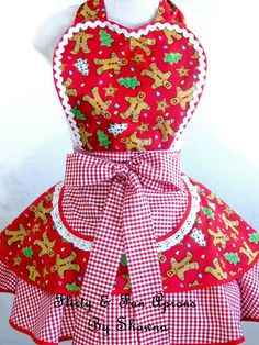 Gum Drops Cookies and Gingerbread Christmas Apron by sjcnace4