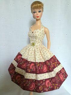 Handmade OOAK Dress For Vintage & Vintage Repro Barbie By*~GINA~*CREAM/WINE*