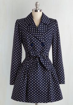 Capital Class Coat. Youre a metropolitan style maven as you stroll downtown in this polka-dotted trench coat! #blue #modcloth