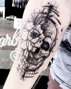 Skull and flower tattoo for men done by tattoo artist Rodrigo Assi Floral Skull Tattoos, Animal Skull Tattoos, Pirate Skull Tattoos, Skull Girl Tattoo, Sugar Skull Tattoos, Skull Tattoo Design, Leg Tattoos, Body Art Tattoos, Sleeve Tattoos