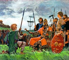 """Anglosaxon thegn taking oath of fealty, cover scanned from a Hachette book """"Life on the time of the barbarian kingdoms"""""""