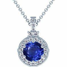 Platinum Round Cut Blue Sapphire And Round Diamond Pendant GemsNY. $2905.00. Save 50%!