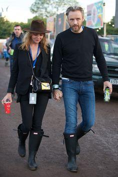 Stella McCartney and Hunter Creative Director, Alasdhair Willis, wearing exclusive personalised Hunter Original boots at Glastonbury 2015