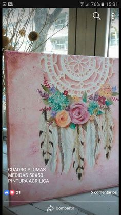 Create a doilie and feathers (crochet) and make it art – Media Room İdeas 2020 Dream Catcher Art, Dream Catcher Painting, Altered Canvas, Painting Techniques, Painting Inspiration, New Art, Painting & Drawing, Watercolor Art, Art Drawings