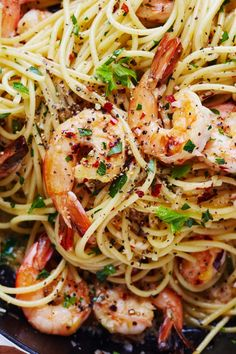 Easy One-Pot Shrimp Scampi Recipe. This is a quick and easy meal or weeknight dinner that ANYONE can master. Get food on the table fast by keep a few simple pantry staples on hand: frozen shrimp, spaghetti (or linguini - whichever pasta you like), butter, parsley, and lemon. Why go to red lobster when you can make this DELICIOUS treat - one of our favorite meals at red lobster - at home any day of the week?!