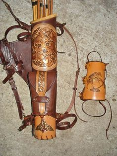 Multifunctional Tooled Leather Quiver, Holding A Bow, A Knife And A Rope, With A Detachable Pouch, A Detachable Backpack And An Arm Guard Leather Quiver, Leather Tooling, Tooled Leather, Leather Engraving, Leather Holster, Sewing Leather, Leather Craft, Arm Guard, Archery Equipment