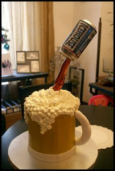Beer Cake by bakerandwife, via Flickr  for his bach party?...=)