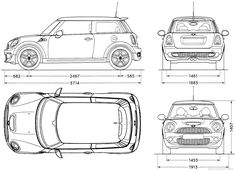Mini Cooper S blueprints, vector drawings, clipart and pdf templates
