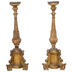 Pair of Large 18th Century Italian Candlesticks | 1stdibs.com