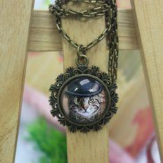 Cat Art   Antique Bronze Glass Pendant Necklace by AfifShop