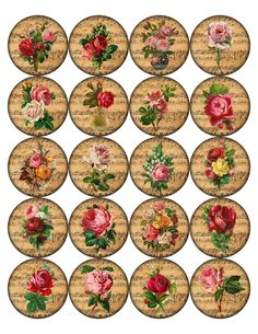 Rose Round Circle Bottle Caps Glossy Stickers Assorted