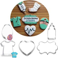 5pcs patisserie reposteria Hospital Doctor Heart Stainless Steel Cookie Cutter Art Fondant Cake Decor Tools Biscuit Pastry Mould