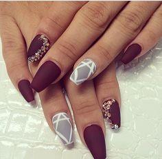 Merlot and gray geometric matte nails w/ swavrovski crystals