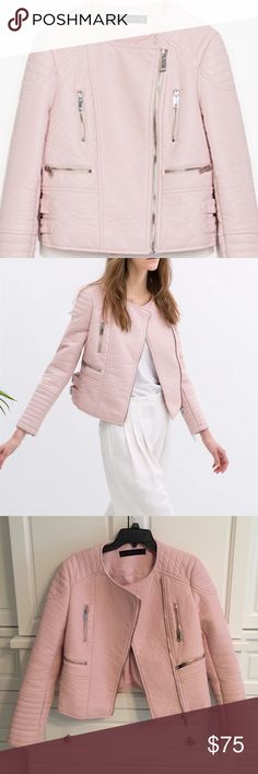 Zara Pink Leather Moto Jacket Iconic Zara Moto jacket in pink. Faux leather. Silver hardware. Reposh- I wanted this jacket for years but it just didn't fit me right. Definitely runs small! Excellent condition. Zara Jackets & Coats