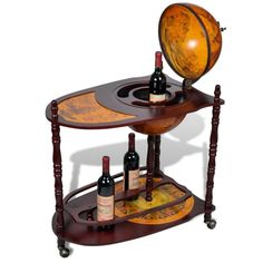 Globe Mini Bar Wine Drinks Bottles Antique Style Storage Cabinet Table Trolley
