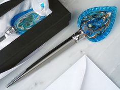 Murano art deco collection letter opener teardrop shaped glass