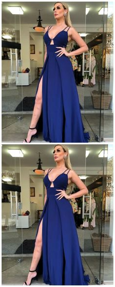 long navy blue slit dress by olesaweddingdresses, $126.91 USD Classy Prom Dresses, Royal Blue Prom Dresses, Beautiful Prom Dresses, Satin Dresses, Sexy Dresses, Party Dresses, Bridesmaid Dresses, Evening Party Gowns, Evening Dresses