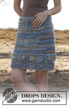 """Crochet DROPS skirt with squares in """"Fabel"""". Size: S - XXXL. ~ DROPS Design"""