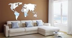 47in wide x 23in high. What can be cooler than to add a world map mirror to your office or home space? This creative piece displays all continents in a laser cut reflective acrylic mirror. This product is 1/8in thick and made with premium acrylic resin. The reflection is comparable to a standard glass mirror - clear and un-foggy. This item ships in a large art box as it cant be rolled or folded. The package includes a heavy duty double sided tape packet as well as instructions. Made in the…