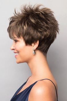 The Noriko Brady is a short, feathered style which you can style with your fingers to have more height and volume or sleek down if you are going for a more sophisticated look. Short Pixie Haircuts, Pixie Hairstyles, Short Hair Cuts, Hairstyles Videos, Pixie Cuts, Hair Styles 2016, Curly Hair Styles, Natural Hair Styles, Haircut For Older Women