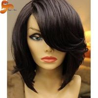 Bangs black bob wig with