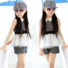 2017 summer Girls clothes lapel T-shirt + shorts, sleeveless children's clothing sets,fashion casual sportswear Kids Sports suit
