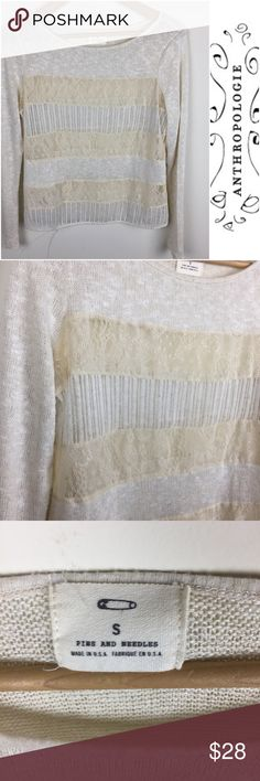 "Anthropologie Pins and Needles Lace Top Anthropologie Pins and Needles Lace Top. Size small.   🔹Length 22"" 🔹 chest 17"" 🔹 great condition - no visible flaws   (167) Anthropologie Tops"