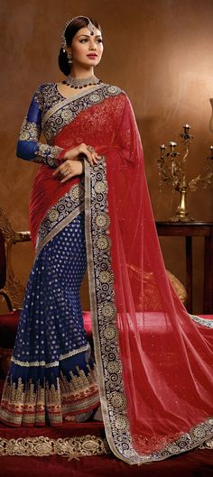 151516: Blue, Red and Maroon color family Saree with matching unstitched blouse.