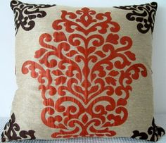 Damask Orange and Brown Pillow, Decorative Cushion Cover, polyester and viscose mix designer fabric, Baroque style UK printed fabric. Shimmery light grey background with detail in orange and dark brown. Beautiful soft tactile qualities of the fabric surface. $32