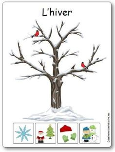 Display of the 4 seasons: the winter … Seasons Kindergarten, Preschool Kindergarten, Sorting Activities, Activities For Kids, French Flashcards, Weather Seasons, French Lessons, Teaching French, Learn French